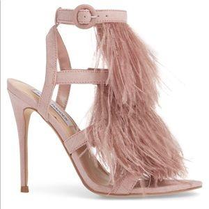 "079aff80cd8 Steve Madden Shoes - NWT💜STEVE MADDEN💜""FeFe"" Feather Sandals Heels"